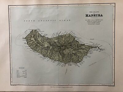 1894 Madeira Portugal Map From Stanford'S London Atlas Of Universal Geography