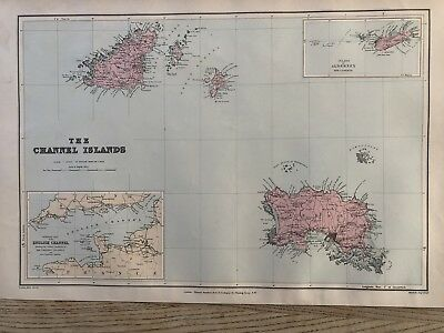 1894 Channel Islands Map From Stanford'S London Atlas Of Universal Geography