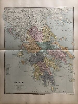 1894 Greece Large Map From Stanford'S London Atlas Of Universal Geography