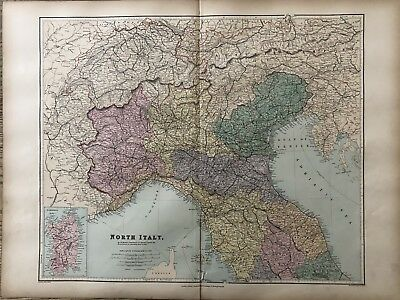 1894 North Italy Large Map From Stanford'S London Atlas Of Universal Geography