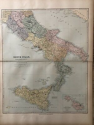 1894 South Italy Large Map From Stanford'S London Atlas Of Universal Geography