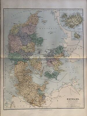 1894 Denmark Large Map From Stanford'S London Atlas Of Universal Geography