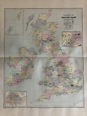 1894 British Isles Large Parliamentary Map From Edward Stanford'S London Atlas