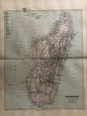 1894 Madagascar Map From Stanford'S London Atlas Of Universal Geography