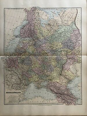1894 Russia & Poland Big Map From Stanford'S London Atlas Of Universal Geography