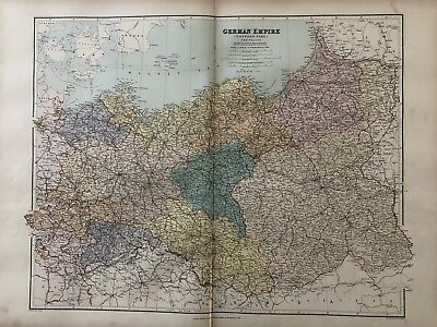 1894 Prussia & Poland Map From Stanford'S London Atlas Of Universal Geography