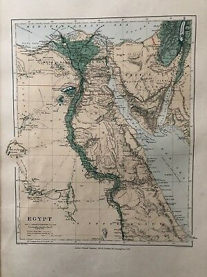 1894 Egypt Large Map From Stanford'S London Atlas Of Universal Geography