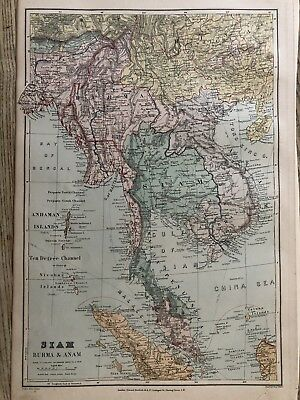 1894 Southeast Asia Siam Burma Indochina Large Map From Stanford'S London Atlas