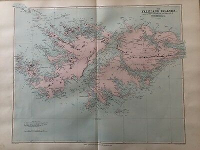 1894 The Falkland Islands Large Antique Map From Stanford'S London Atlas