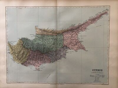 1894 Cyprus Large Map From Stanford'S London Atlas Of Universal Geography