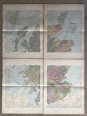 1894 Scotland Huge Map On Four Sheets From Edward Stanford'S London Atlas