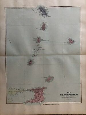 1894 Windward Islands West Indies Antique Map From Stanford'S London Atlas