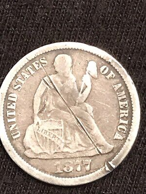 1877 CC Seated Liberty Dime old cleaning
