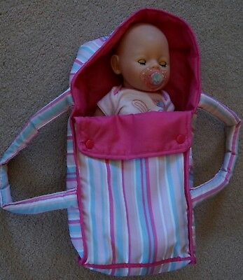 Zapf Creations Baby Born 15 inch hard body doll blue eyes dressed carrier dummy