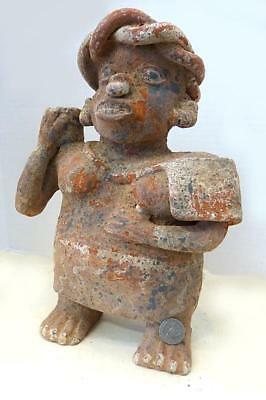 Pre-Columbian Jalisco Clay 12' Tall Standing Male  Figure - Ca 100 Bc
