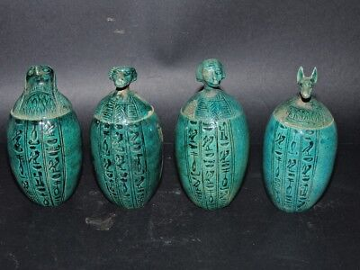 ANCIENT EGYPTIAN ANTIQUES Canopic Jars Sons Of Horus Egypt Hand Carved Stone BC
