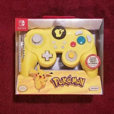 PDP Super Smash Bros Wired Fight Pad Pro Pikachu for Nintendo Switch Sealed