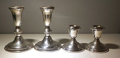 Lot of 4 Empire Weighted Sterling Silver Candle Sticks (2lb total)