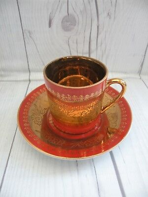 KPM Gold Guilded and Orange Mini Tea Cup and Saucer-Made in Japan