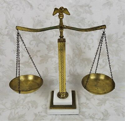 Vintage Marble And Antique Brass Eagle Scales of Justice Law Office Decor