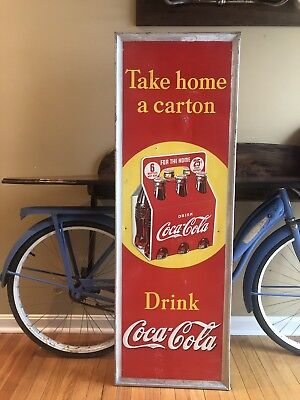 Vintage 1938 COCA COLA PILASTER SIGN Take Home a Carton 6 Pack