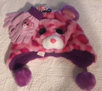 NWT ty Beanie Boos Leopard Girls' Winter Hat and Gloves Set One Size Fits Most
