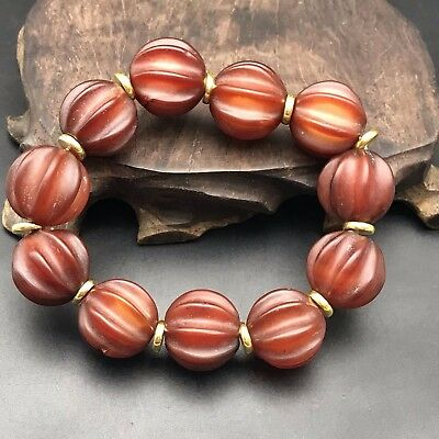 Unique Chinese Natural Red  Agate Carving Melon Beads Lucky Bracelet