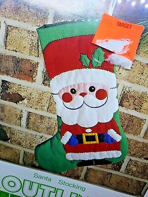 "Bee Crafty SANTA STOCKING 16"" Christmas Outline Quilting Craft Kit Sealed Claus"