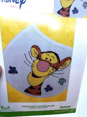 Janlynn TIGGER WITH BUTTERFLIES BIB Counted Cross Stitch Craft Kit Disney Pooh