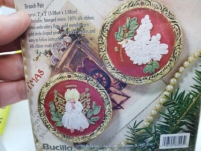 Bucilla PEACEMAKERS Silk Ribbon Embroidery 1996 Broach Angel Craft Kit Christmas