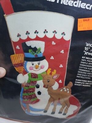 Sultana SNOW PALS Jeweled Snowman Rudolph Reindeer Christmas Stocking Craft Kit