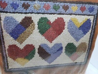 "Suzanne McNeill Rugpoint PATCHWORK HEARTS 18X24"" Rag Rug Kit Valentine's Day"