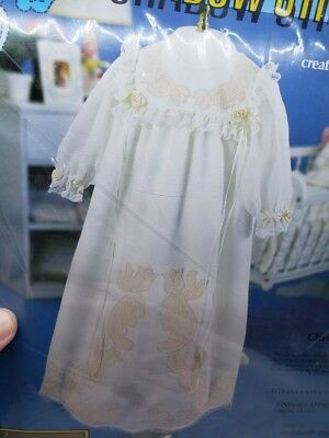 "STUNNING! Paragon CHRISTENING GOWN 27"" Infant Stitching Kit Roses Flowers Craft"