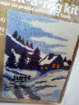 """Malina WINTER SCENE Area Rug or Wall Hanging 20"""" X 27"""" Latch Hook A Rug Kit Vtg"""