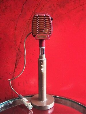 Vintage 1940's RARE Shure 710S crystal microphone deco old used antique w stand