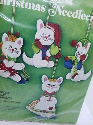 Bucilla THREE LITTLE KITTENS Set of 4 Jeweled Holiday Christmas Ornaments Kit