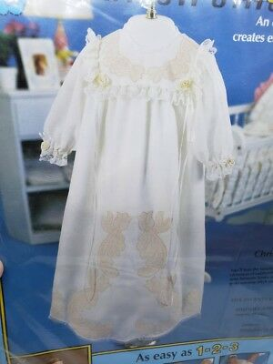 "Vintage Paragon CHRISTENING GOWN 27"" Infant Stitching Kit Roses Flowers Craft"