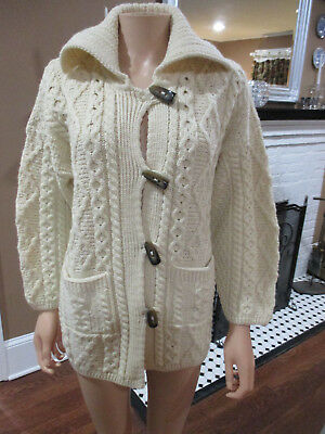 VINTAGE made in IRELAND CARRAIG DONN IVORY WOOL TOGGLE POCKETED SWEATER sz SM