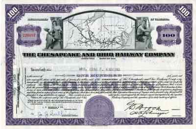 1943 Chesapeake & Ohio RW Stock Certificate