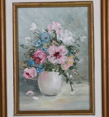 Signed Malen -June? Vtg Framed Floral Vase Flowers Still Life Oil Painting Board