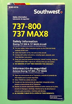 Southwest Airlines Safety Card--737-800Max—2018