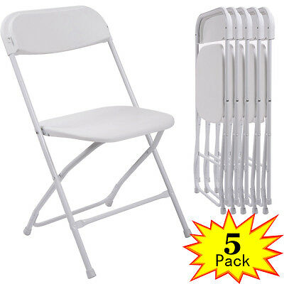 Commercial (5) Plastic Folding Chairs Stackable Wedding Party Event Chair White