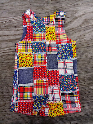 Vtg Colorful Overall Jumper Patchwork Romper Baby Toddler ~Cute~
