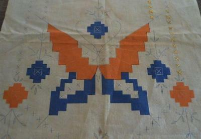 Vintage Tinted Stamped Embroidery Table Runners Art Deco Butterfly Orange