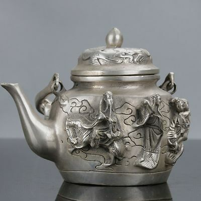 Chinese Silver Copper Handwork Carved Eight Immortals Teapot