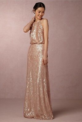 ee95a7c794a5a BHLDN Donna Morgan Sz 0 Alana Sequin Gown Rose Gold/Bisque Wedding Formal  NWT