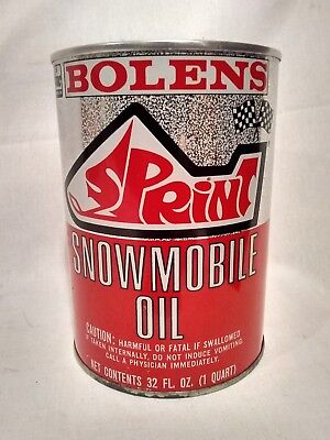 RARE NOS VINTAGE FMC BOLENS SPRINT SNOWMOBILE  MOTOR OIL 1 QUART TIN CAN  sign