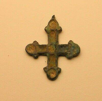 Ancient Viking Pendant c.10th century AD Enameled Cross Authentic Bronze Amulet