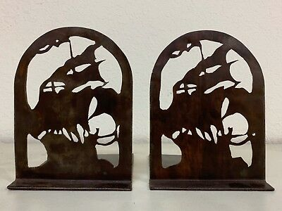 1920's Handcrafted Hand Cut Bookends Arts & Crafts Style Ship Galleon w Flags