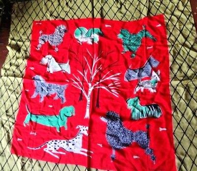 Vintage 1950's Signed TAMMIS KEEFE Large Silk Scarf ASSORTED DOGS